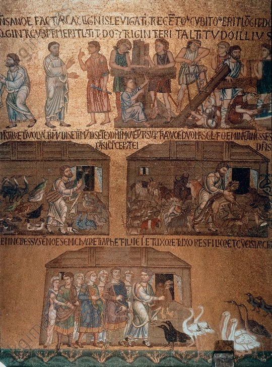 Venedig,S.Marco, Besch.des Noah / Mosaik - Venice, San Marco, Noah's Ark / mosaic. - Venise, St-Marc, Noé / Mosaïque